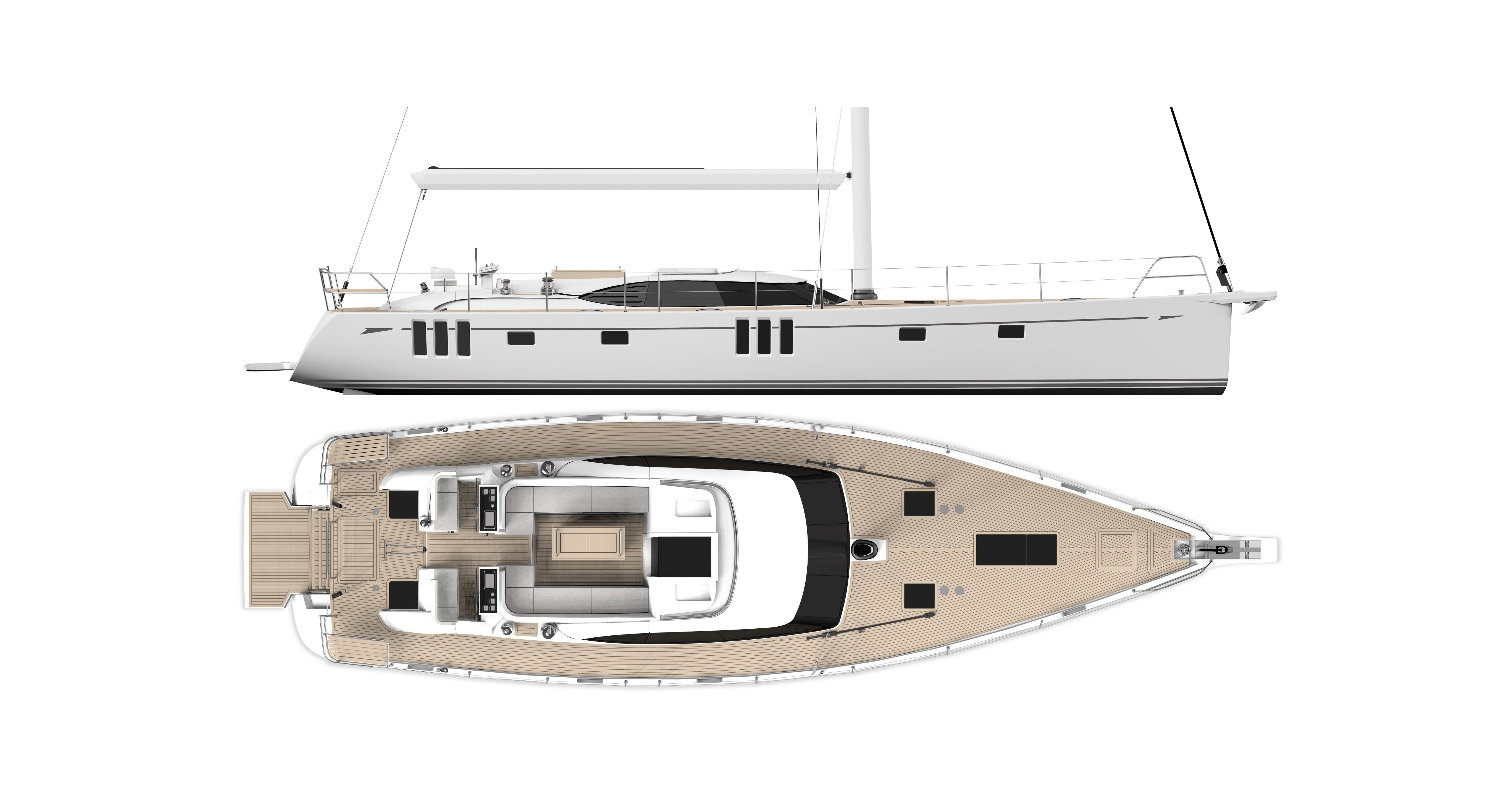 OYSTER 595 DECK PLAN WITH EXTENDED TRANSOM